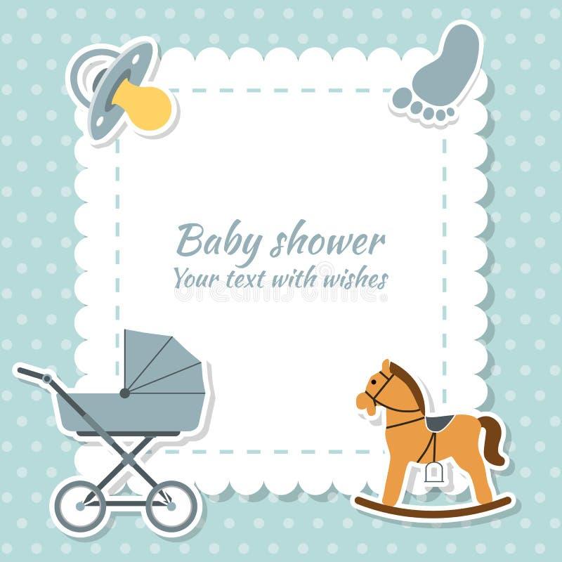 behandla som ett barn fiolen för holdingen för pojkekorthälsningen behandla som ett barn den nya duschen för det födda pojkekorte royaltyfri illustrationer