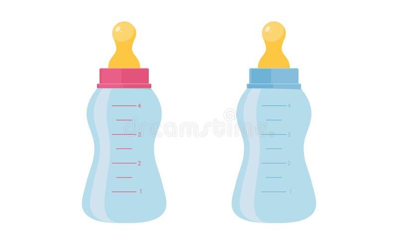 Behandla som ett barn flaskvektorillustrationen ställer in - den plast- eller exponeringsglasbehållaren med nippeln för matning a royaltyfri illustrationer