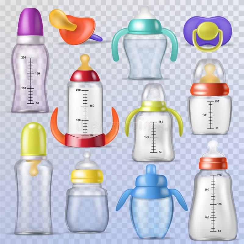 Behandla som ett barn flaskvektorungar som den plast- behållaren med mjölkar eller buteljerade flytande för dricka och barnnippel stock illustrationer