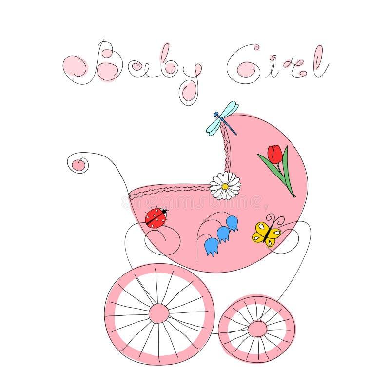 Behandla som ett barn flickaankomstkortet med handen dragen retro utformad barnvagn royaltyfri illustrationer