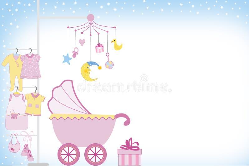 behandla som ett barn flickaduschen royaltyfri illustrationer