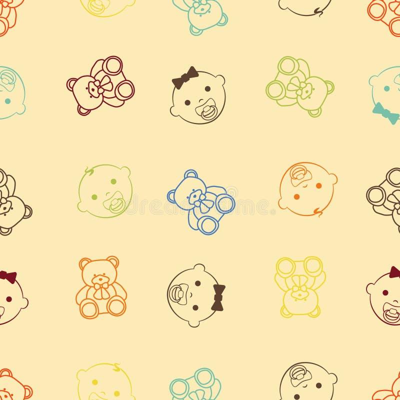 Behandla som ett barn flickan, behandla som ett barn den sömlösa retro utformade modellen för pojken och för nallebjörnen royaltyfri illustrationer