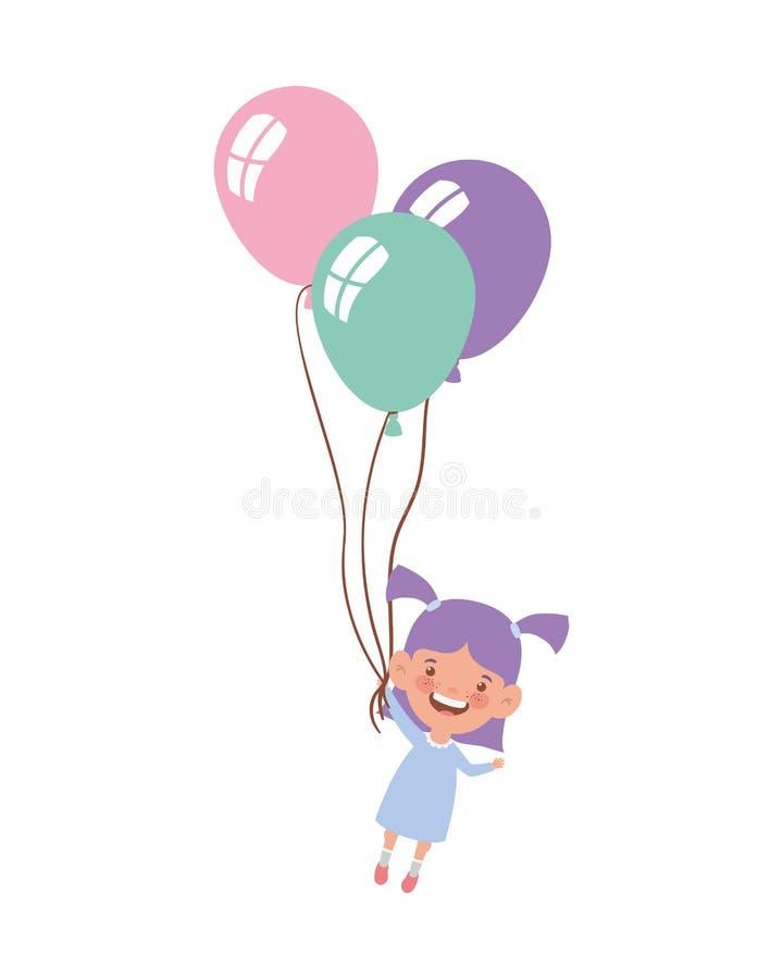 Behandla som ett barn flickan som ler med heliumballonger i hand royaltyfri illustrationer