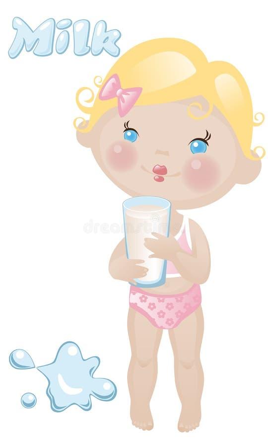 Behandla som ett barn flickan mjölkar