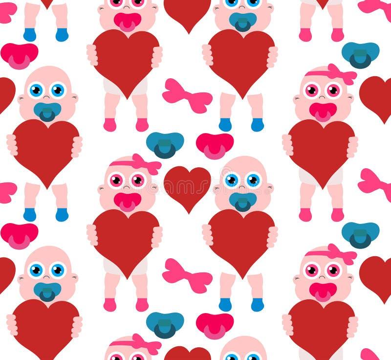 Behandla som ett barn flickan och pojken med hjärtor för moderns dag S?ml?s modell f?r materiel vektor illustrationer