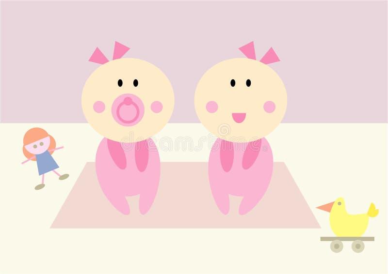 behandla som ett barn flickor deras tvilling- toys stock illustrationer