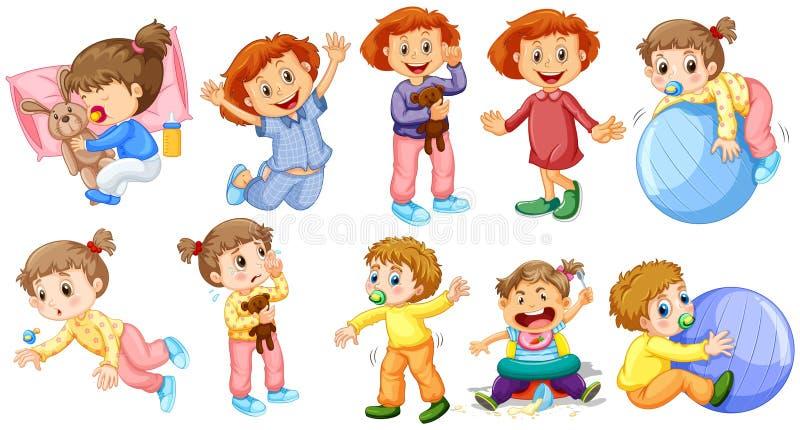 Behandla som ett barn flickor och pojkar som gör olika aktiviteter royaltyfri illustrationer