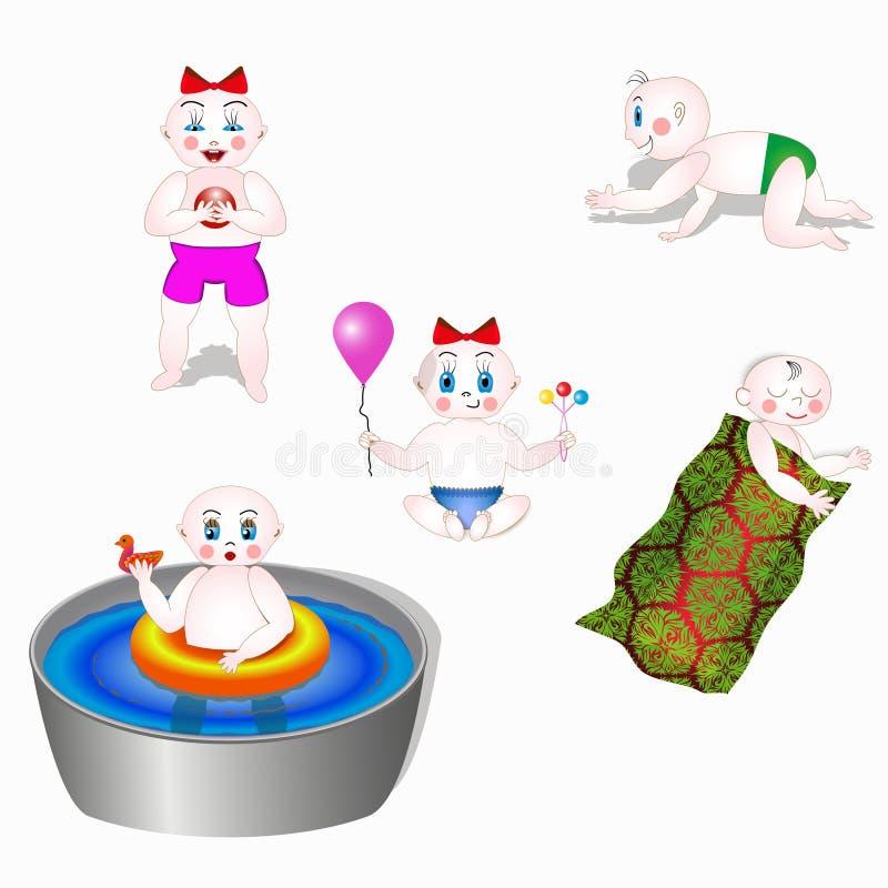 Behandla som ett barn flyttning och lek i olika positioner royaltyfri illustrationer
