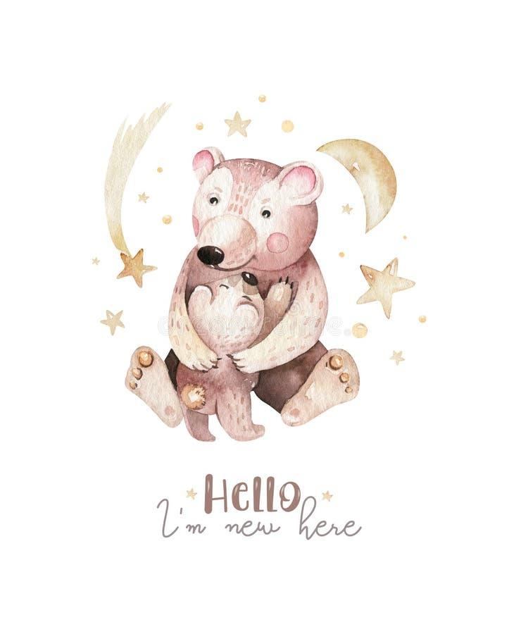 Behandla som ett barn fostrar den lilla björnen för vattenfärgen och akvarelltecknade filmen behandla som ett barn barnkammaren R vektor illustrationer
