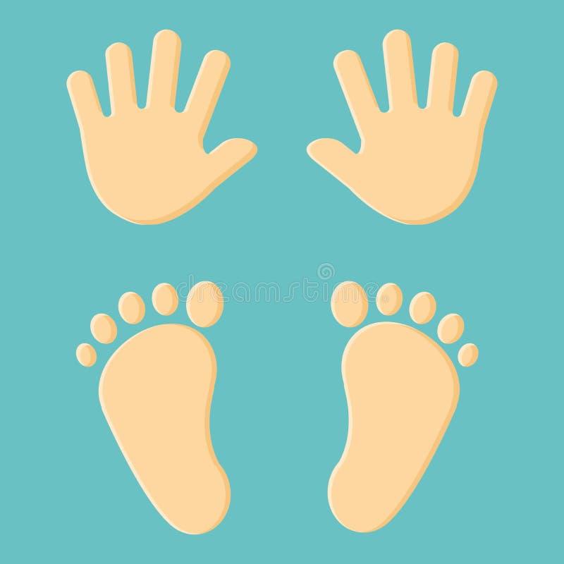 Behandla som ett barn fotspåret och handprint vektor vektor illustrationer