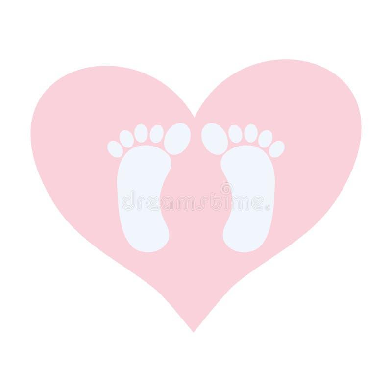 Behandla som ett barn fottryck i hjärtaförälskelse stock illustrationer