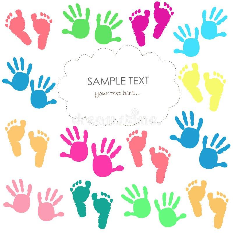 Behandla som ett barn fottrycket och kortet för hälsning för handungar det färgrika royaltyfri illustrationer
