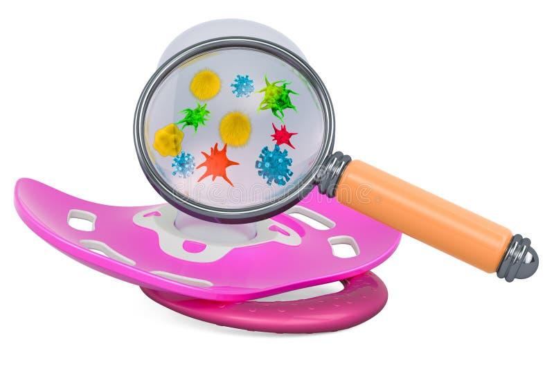 Behandla som ett barn fredsmäklaren med bakterier och bacterias under förstoringsglaset framf?rande 3d vektor illustrationer
