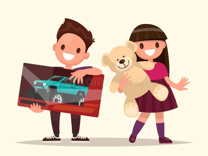 Behandla som ett barn gåvor Barn med toys också vektor för coreldrawillustration vektor illustrationer
