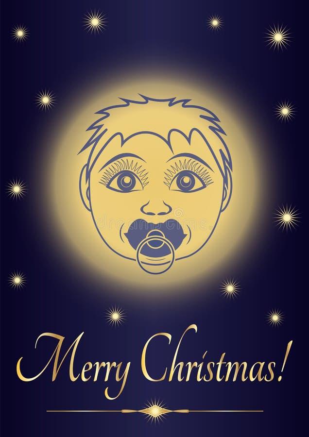 Behandla som ett barn glad jul jesus för hälsningkortet Framsida av det nyfödda helgonet på bakgrunden av den stjärnklara himlen  stock illustrationer