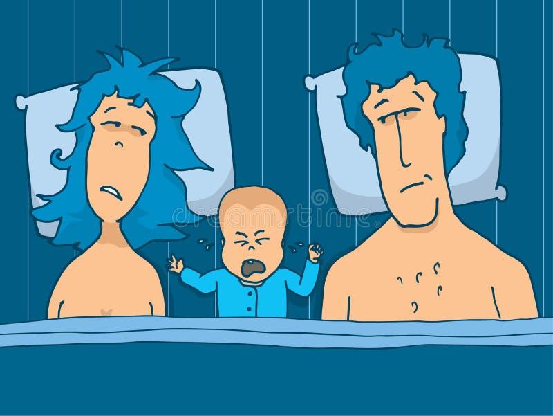 Behandla som ett barn gråt i säng mellan hans föräldrar vektor illustrationer