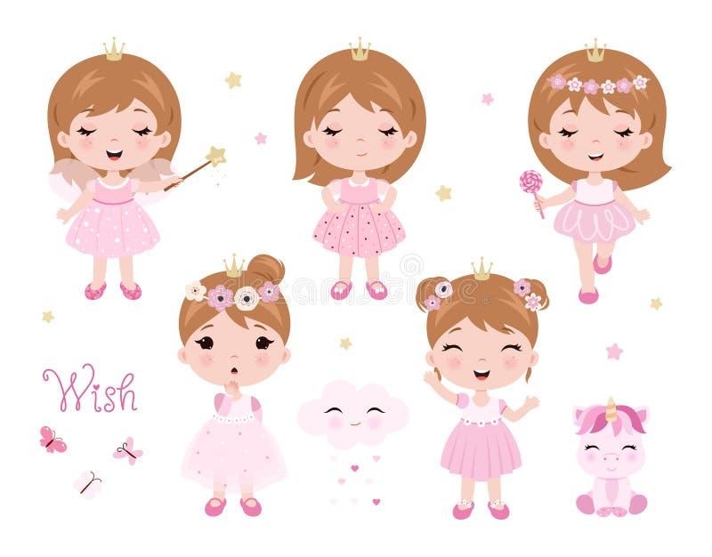 Behandla som ett barn gulliga små för vektor flickan som kläs som prinsessa Behandla som ett barn prinsessauppsättningen Vektorn  royaltyfri illustrationer