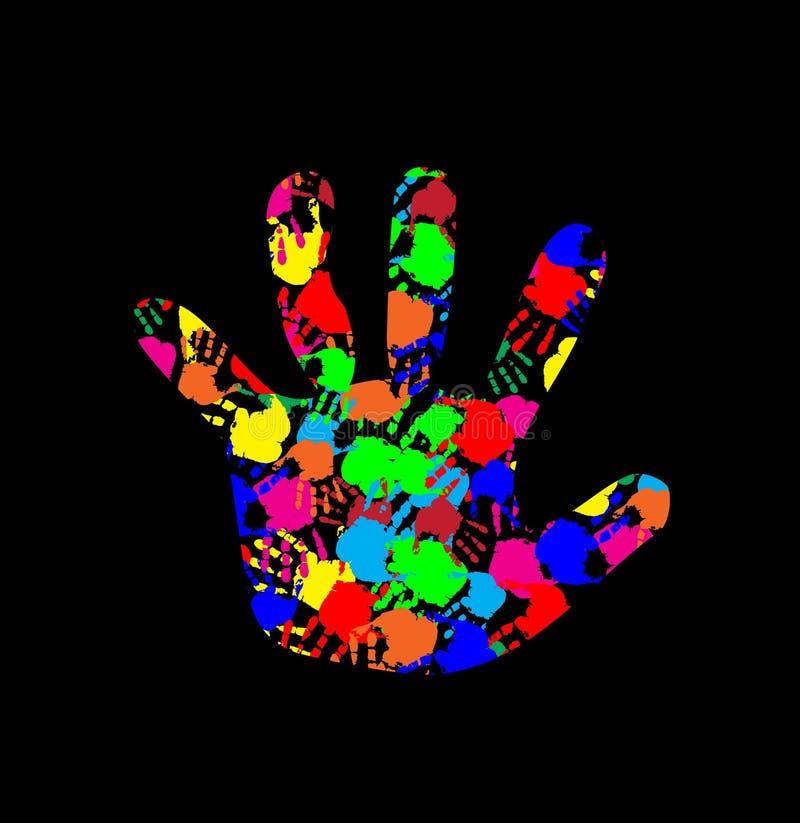 Behandla som ett barn handen med den färgrika handtryckmodellen inom stock illustrationer