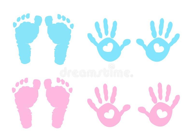 Behandla som ett barn handprint- och fotspårillustrationen stock illustrationer