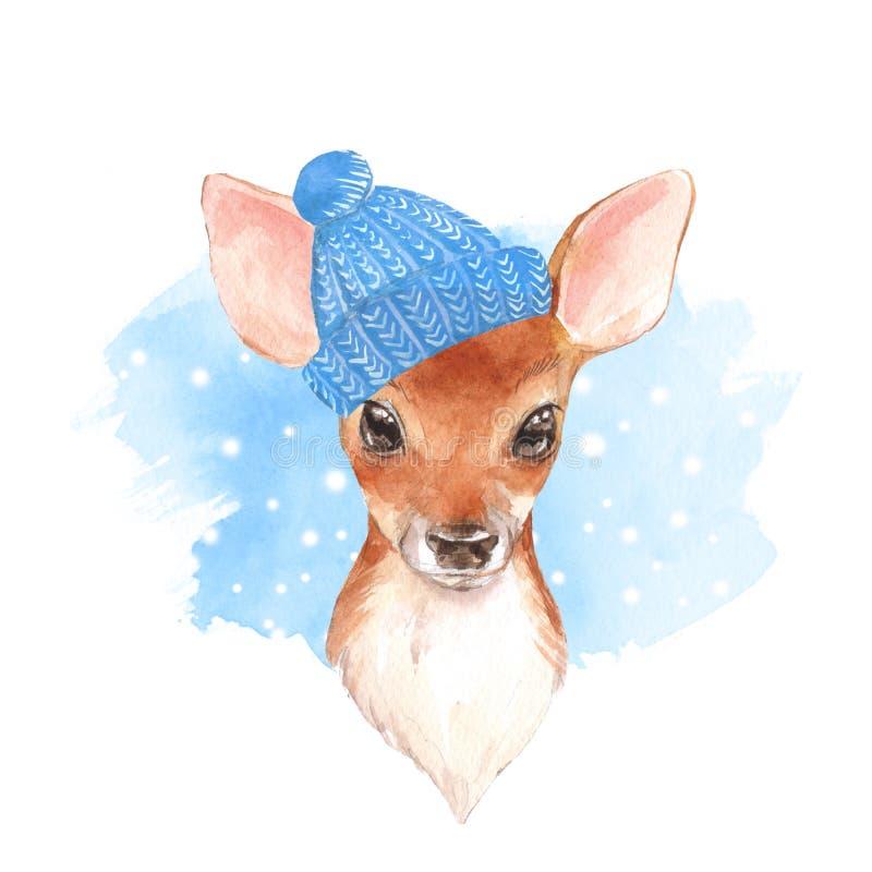 Behandla som ett barn hjortar i blå hatt Gulligt lisma vektor illustrationer