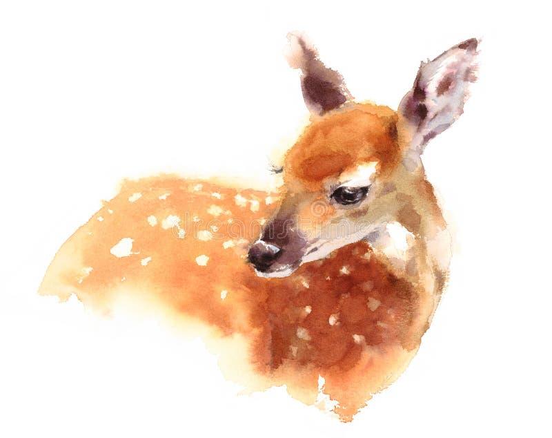 Behandla som ett barn hjortvattenfärgen Fawn Animal Illustration Hand Painted vektor illustrationer