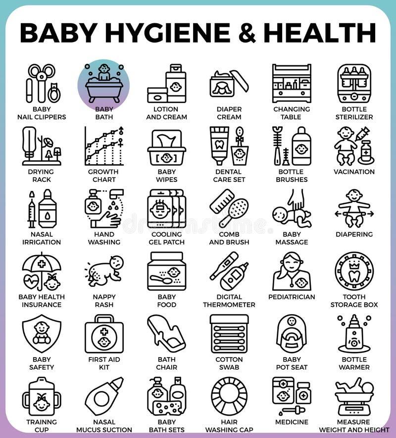 Behandla som ett barn hygien och hälsa stock illustrationer