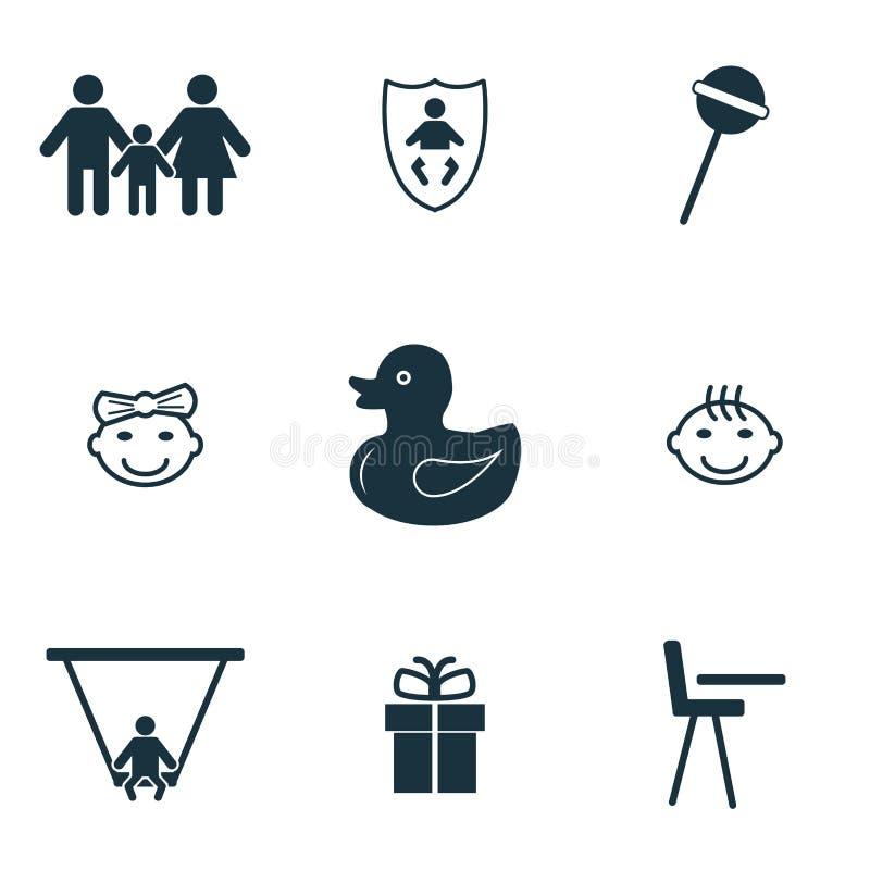 behandla som ett barn inställda symboler Ankungesymbol, klubbasymbol, familjsymbol och mer Högvärdig kvalitets- symbolsamling Beh vektor illustrationer