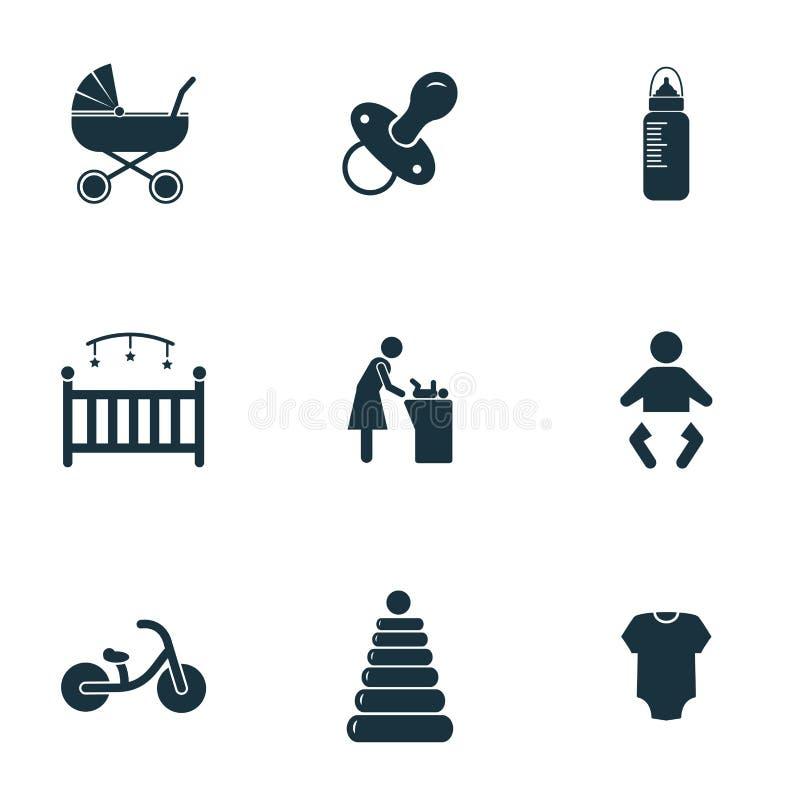 behandla som ett barn inställda symboler Flaska med fredsmäklaresymbolen, kåtasymbolen, den ändrande tabellsymbolen och mer Högvä vektor illustrationer