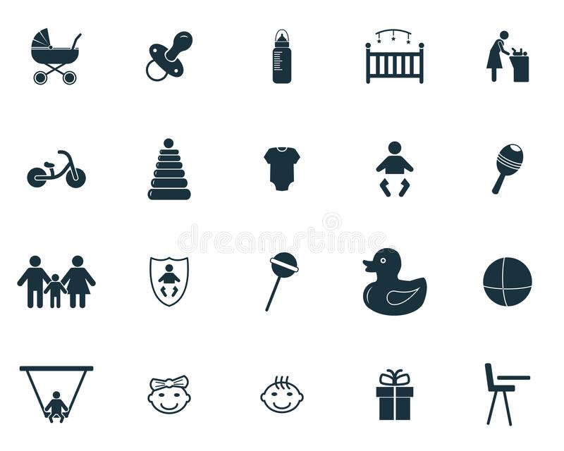 behandla som ett barn inställda symboler Högvärdig kvalitets- symbolsamling Behandla som ett barn fastställda enkla beståndsdelar stock illustrationer