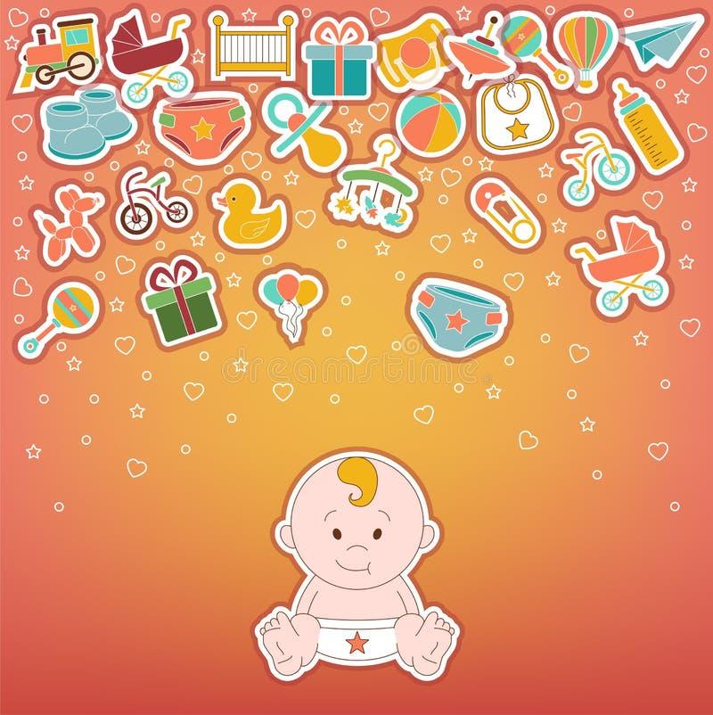behandla som ett barn inställda symboler Klottret behandla som ett barn etikettvektorillustrationen royaltyfri illustrationer