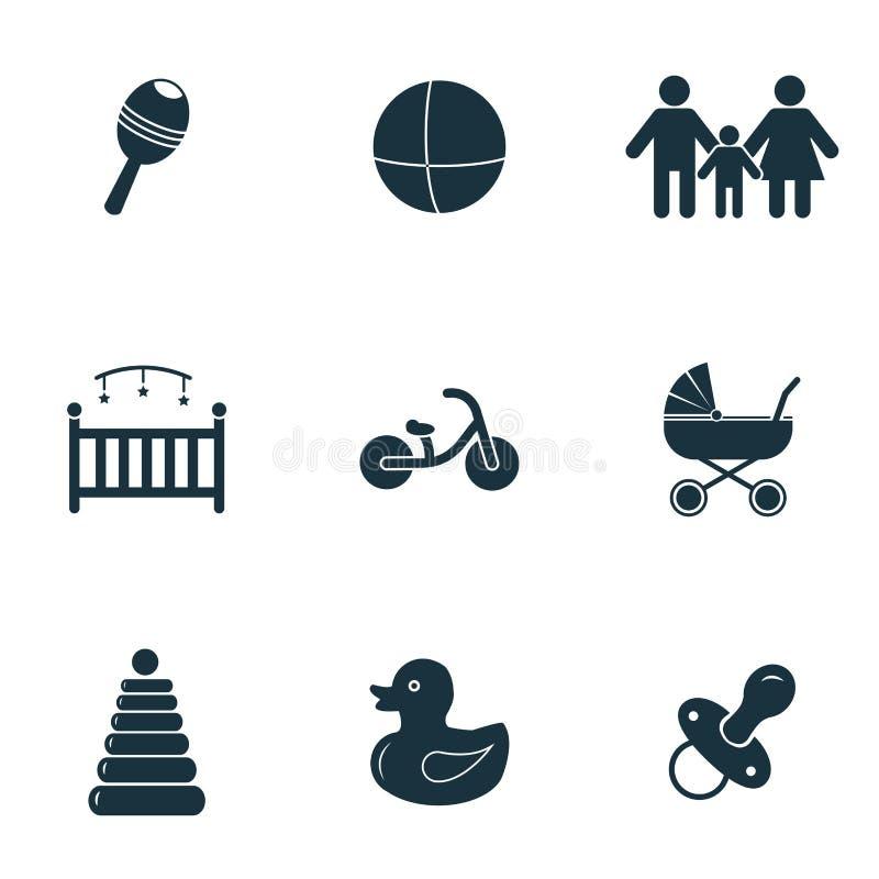 behandla som ett barn inställda symboler Sittvagnsymbol, nippelsymbol, cykelsymbol och mer Högvärdig kvalitets- symbolsamling Beh royaltyfri illustrationer