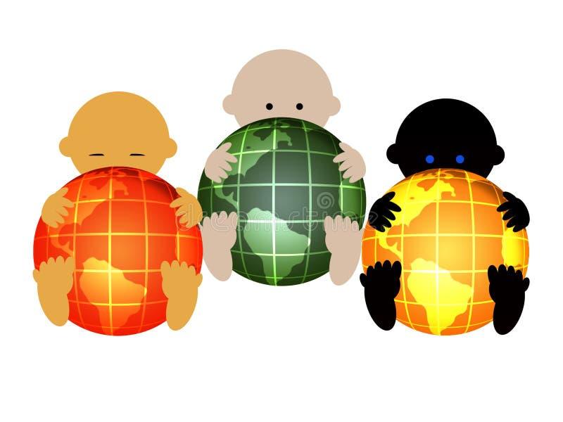 behandla som ett barn internationality tre stock illustrationer
