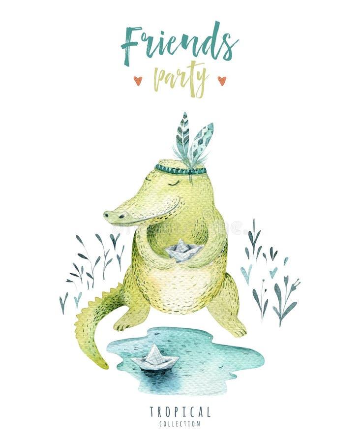 Behandla som ett barn isolerade illustrationen för djur barnkammaren för barn Tropisk teckning för vattenfärgboho, gullig krokodi royaltyfri illustrationer