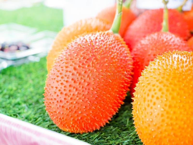Behandla som ett barn jackfruiten, taggig bitter kalebass i träspjällåda Gac frukter av Thailand har medicinrekvisita arkivbilder