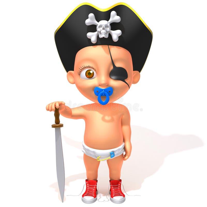 Behandla som ett barn Jake piratkopierar illustrationen 3d royaltyfri illustrationer