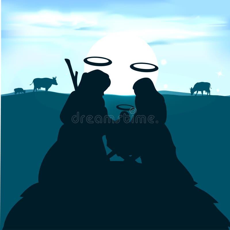 Behandla som ett barn Jesus i krubban med Joseph och den jungfruliga Maryen stock illustrationer