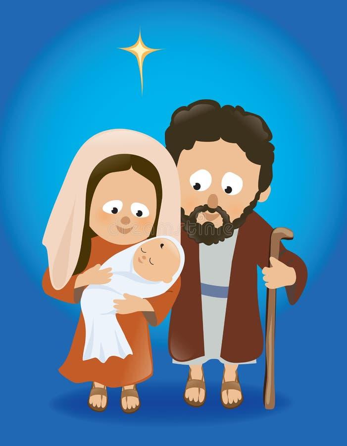 Behandla som ett barn Jesus med Mary och Joseph royaltyfri illustrationer