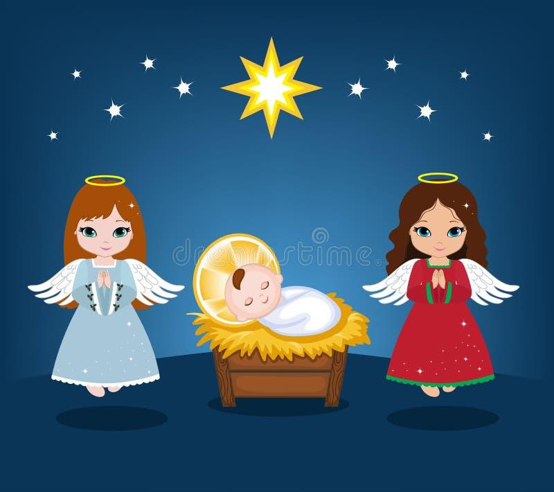 Behandla som ett barn Jesus och julänglar royaltyfri illustrationer