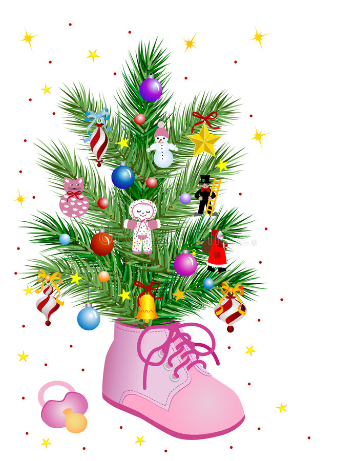 behandla som ett barn julflickan stock illustrationer