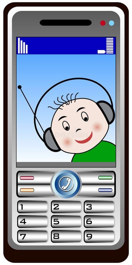 behandla som ett barn kalla den mobil telefonen royaltyfri illustrationer