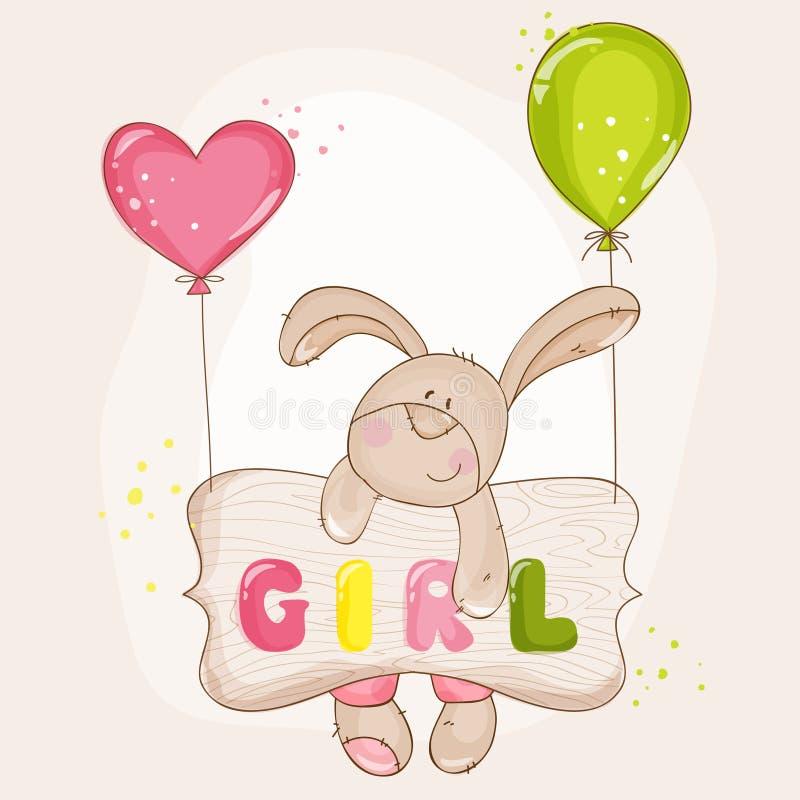 Behandla som ett barn kaninen med ballonger vektor illustrationer