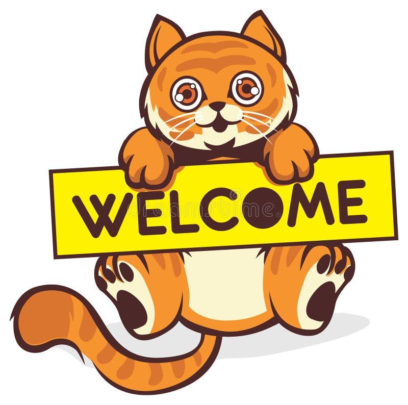Behandla som ett barn katthållen ett välkommet tecken royaltyfri illustrationer