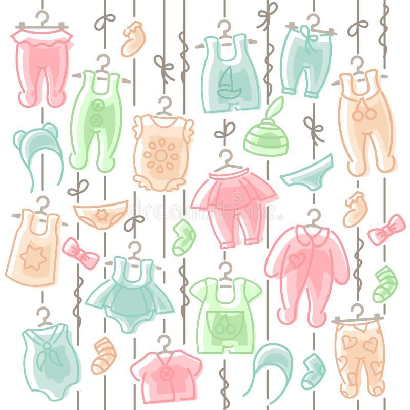 Behandla som ett barn kläder som hänger på rep stock illustrationer