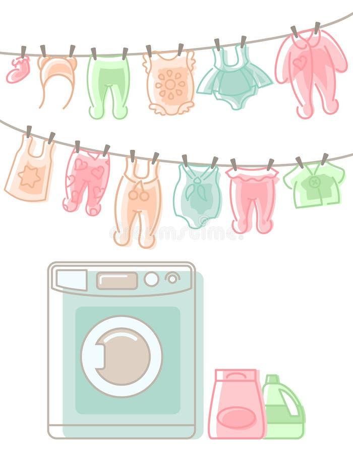 Behandla som ett barn kläder som hänger på rep efter tvätt och packning stock illustrationer