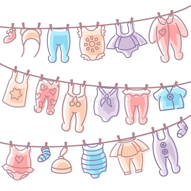Behandla som ett barn kläder som hänger på rep, når du har tvättat sig royaltyfri illustrationer