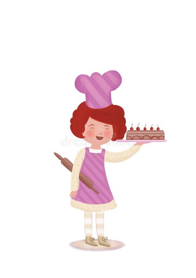Behandla som ett barn kocken royaltyfri illustrationer
