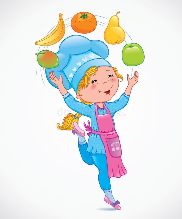 Behandla som ett barn kocken jonglerar frukter royaltyfri illustrationer