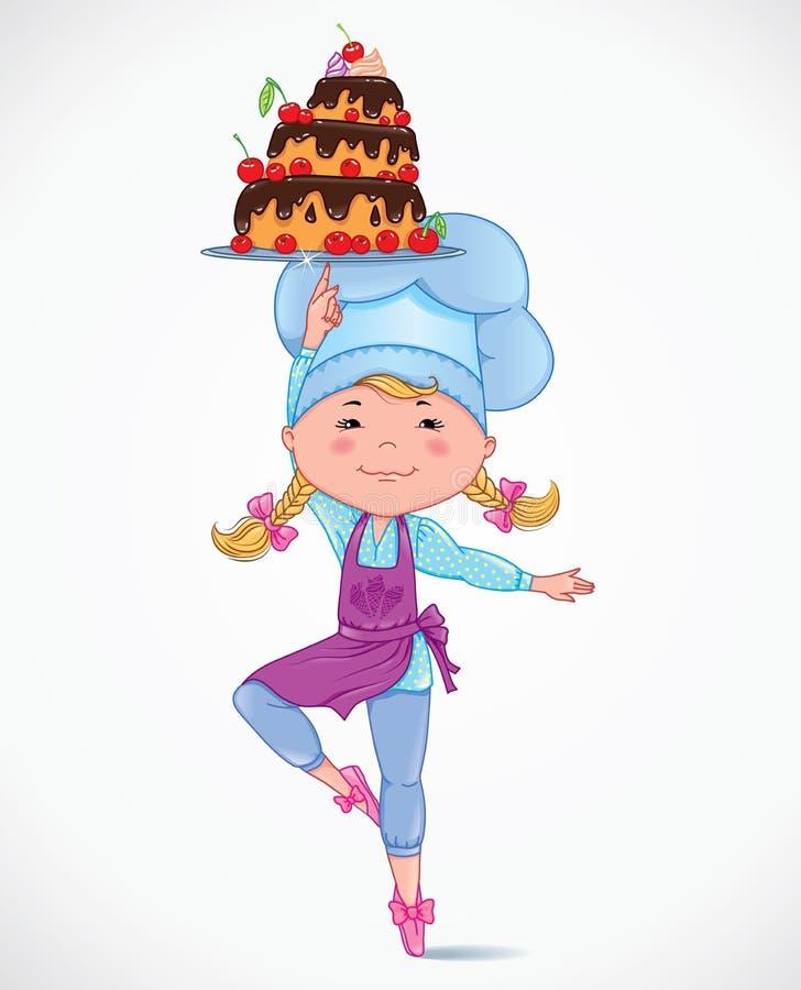 Behandla som ett barn kocken med kakan stock illustrationer