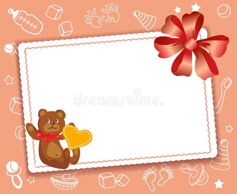Behandla som ett barn kortet med pilbågen stock illustrationer