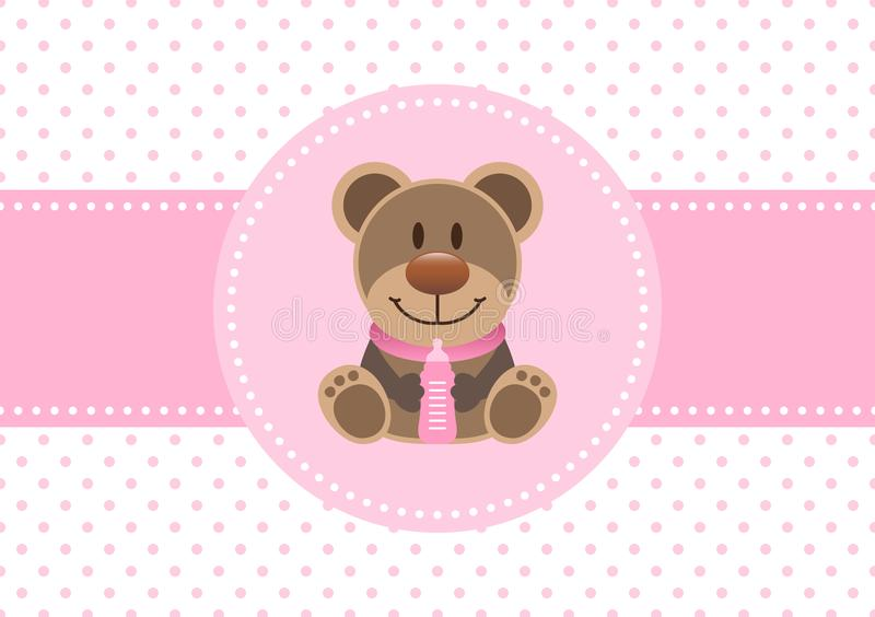 Behandla som ett barn kortflickaTeddy And Bottle Dots Background rosa färger royaltyfri illustrationer